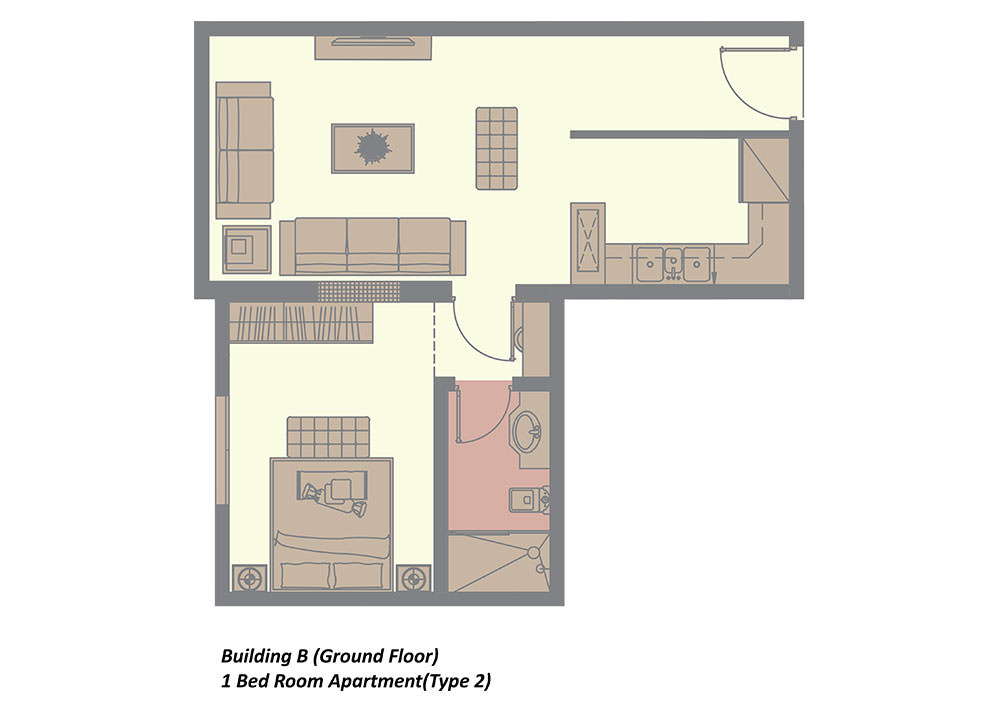 building b ground floor 1 bedroom type 2 in rima residence