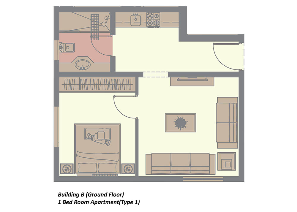 building b ground floor 1 bedroom in rima residence