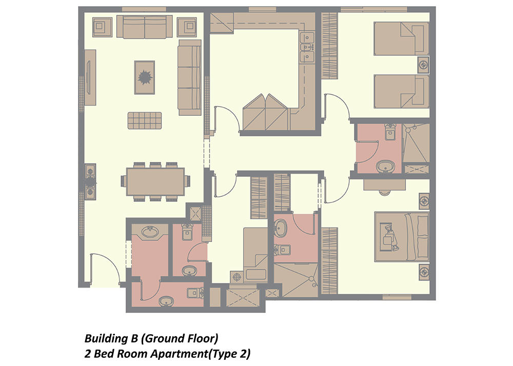 building b ground floor 2 bedroom type 2 in rima residence
