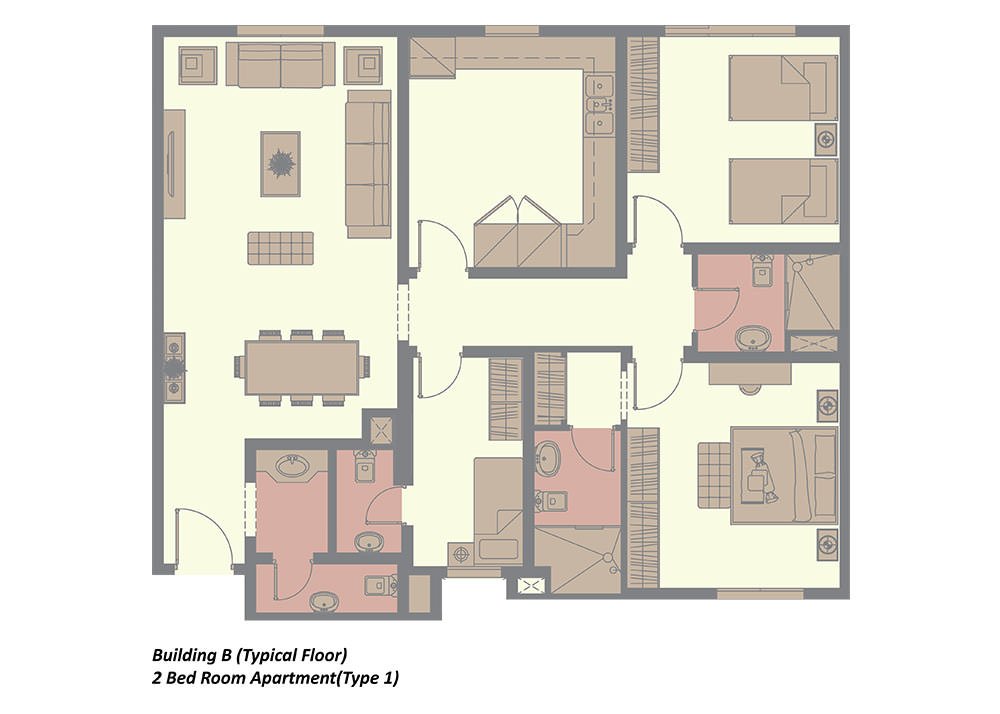 building b typical floor 2 bedroom type 3