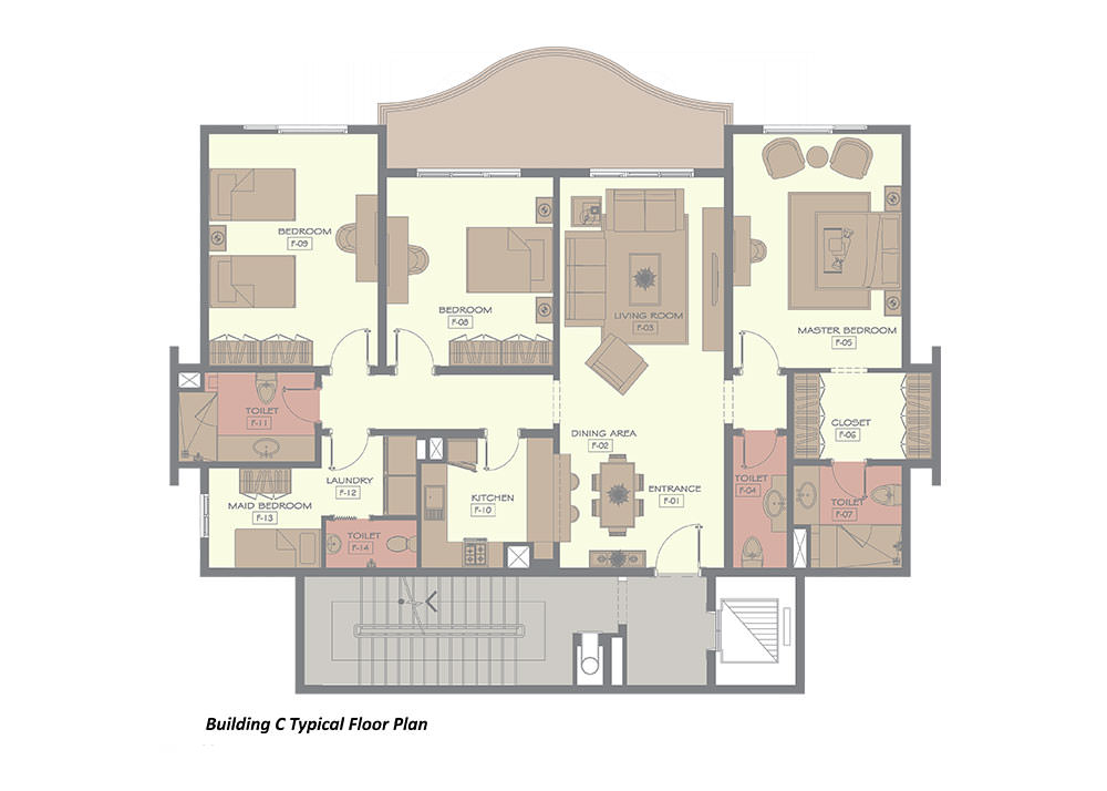 building c typical 3 bedroom floor plan